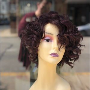 Red wine burgundy curly lace bob wig 2020